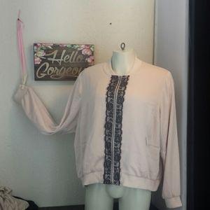 Lane B blush pink black lace zippered jacket 22/24